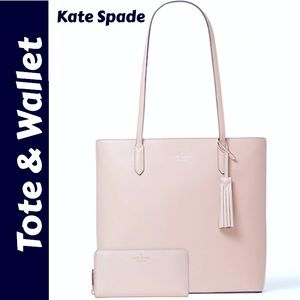 NEW Kate Spade Jana Tote and Wallet Set in Rose Smoke Color